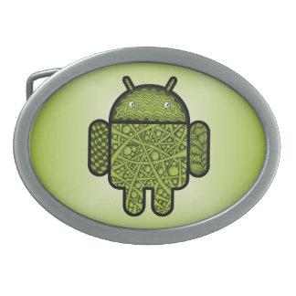 Blasen-Gekritzel-Charakter für den Android™ Ovale Gürtelschnallen