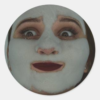 Blasen-Gesicht Runder Aufkleber