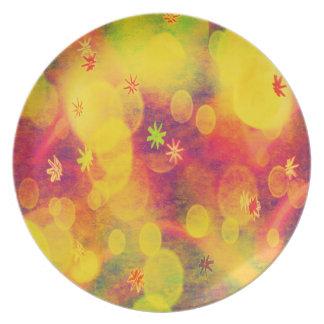 Blasen u. Blumen im Gelb Flacher Teller
