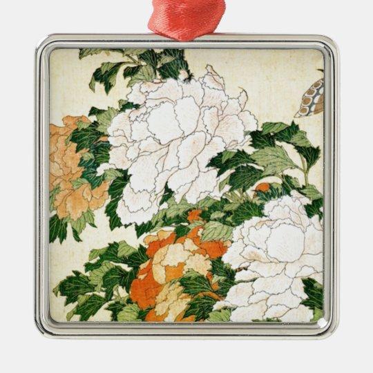 Blasse Blumen Quadratisches Silberfarbenes Ornament