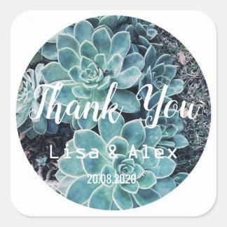 Blasse e-grün Aloe-Pflanze danken Ihnen Quadratischer Aufkleber