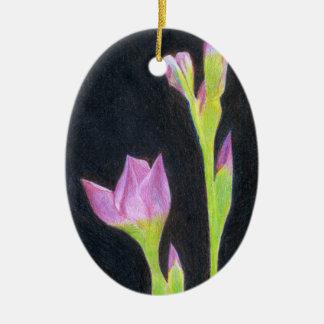 Blasse lila Iris Keramik Ornament
