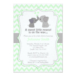Blasse Limone Elefant-Baby-Duschen-Einladung Chev Karte