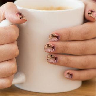 Blasse Rosen auf rosa Wirbel Minx Nagelkunst