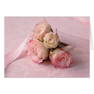blasse Rosen auf rosa Wirbel notecard Karte