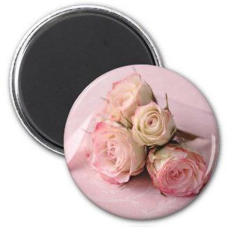 blasse Rosen auf rosa Wirbelsmagneten Runder Magnet 5,7 Cm