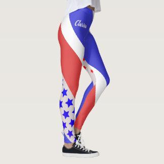 BLASSER TON-ROTES WEISSES USA (Ihr Name) u. BLAU Leggings