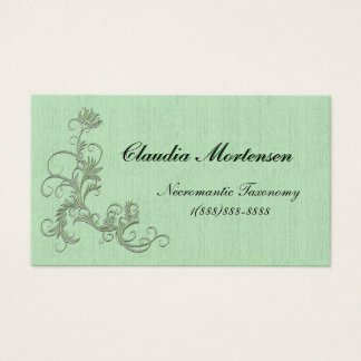 Blasses es-grün Blumen verschönert auf grünen Visitenkarten