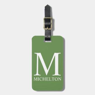 Blasses es-grün mit Monogramm Gepäckanhänger