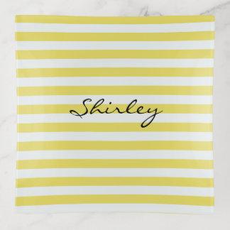 Blasses Gold und weiße Streifen durch Shirley Dekoschale