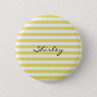 Blasses Gold und weiße Streifen durch Shirley Runder Button 5,7 Cm