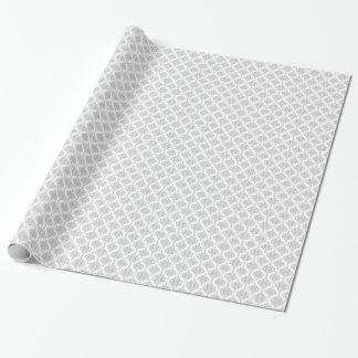Blasses graues und weißes Damast-Muster Geschenkpapierrolle