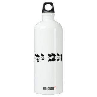 Blässhuhn-Entwurf - Schwarzes auf Weiß Aluminiumwasserflaschen