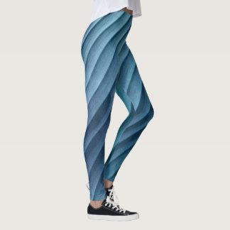 Blatt-blaue Diagonale Leggings
