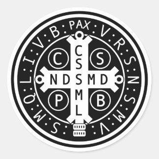 Blatt der Medaillen-Aufkleber St. Benedict Runder Aufkleber