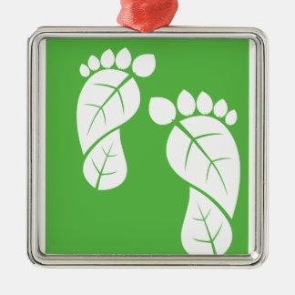 Blatt-Füße, ökologischer Abdruck Silbernes Ornament