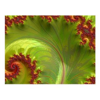 Blatt-grünes Fraktal Postkarte