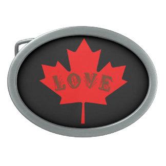 Blatt-Gürtelschnalle des Liebe-Kanada-Tagesroten Ovale Gürtelschnallen
