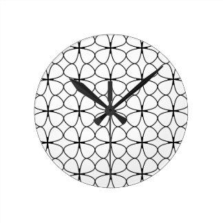Blatt-Klee-Schwarzweiss-geometrisches des Runde Wanduhr