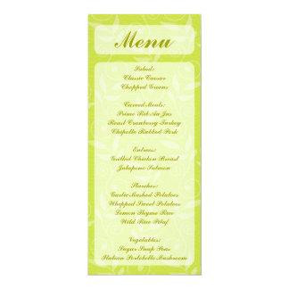 Blatt-Wirbelsmenü-Gestellkarten des gelben Grüns 10,2 X 23,5 Cm Einladungskarte