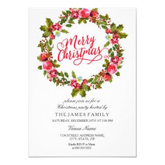 Blattblumenwreath-laden rotes WeihnachtsParty ein Karte