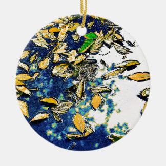 Blätter im Regen Keramik Ornament
