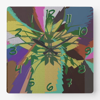 Blätter in den Natur-Bio Farben Quadratische Wanduhr
