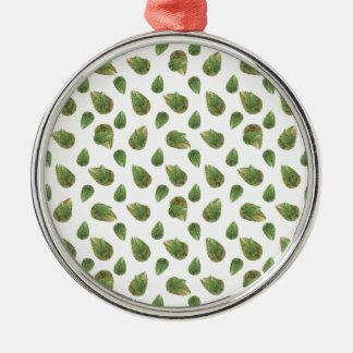 Blätter-Motiv-Natur-Muster Rundes Silberfarbenes Ornament