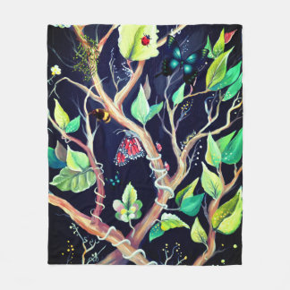 Blätter- und Schmetterlingsmalen Fleecedecke
