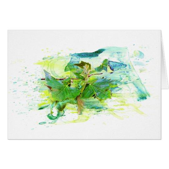 Blätter - Watercolor / Aquarell, Illustration Karte