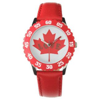 Blattuhr des Liebe Kanada-Tagesroten Ahorns Armbanduhr