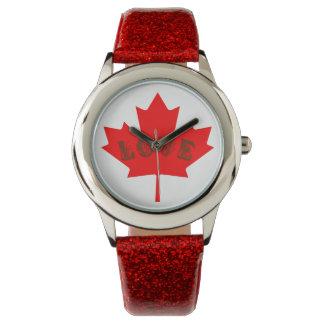 Blattuhr des Liebe Kanada-Tagesroten Ahorns Uhr