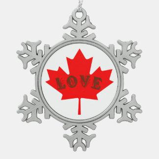 Blattverzierung des Liebe Kanada-Tagesroten Ahorns Schneeflocken Zinn-Ornament
