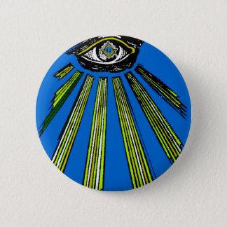 Blau alles sehende Augen-Quadrat und Runder Button 5,1 Cm