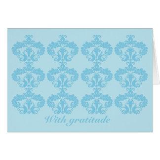Blau auf hellblauem dankt Ihnen mit gratutude Karte