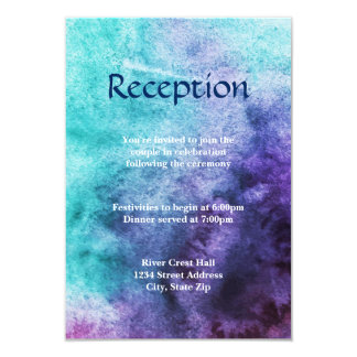 Blau auf lila Watercolor - Empfangs-Einladung Karte