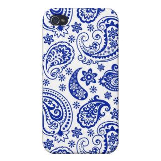 Blau auf weißem Retro Entwurf Paisleys Pern iPhone 4 Etuis