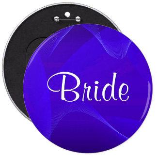 Blau bewegt Braut wellenartig Runder Button 15,3 Cm