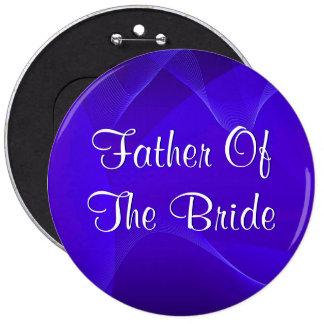 Blau bewegt Vater der Braut wellenartig Runder Button 15,3 Cm