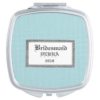 Blau-Blase-Bevorzugung-Monogramm-Schablone-Feier Taschenspiegel