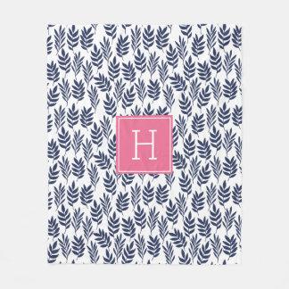 Blau-Blätter und rosa Monogramm Fleecedecke