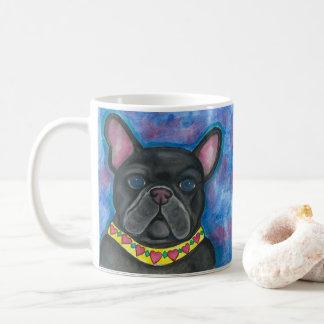 Blau blendet Tasse der französischen Bulldogge