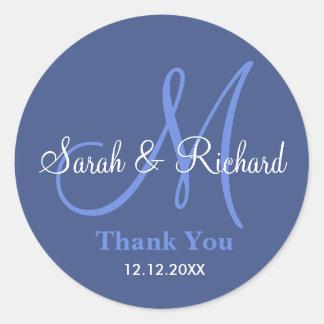 Blau dankt Ihnen Hochzeits-Monogramm-Aufkleber Runder Aufkleber