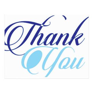 Blau dankt Ihnen script Typografie Postkarte