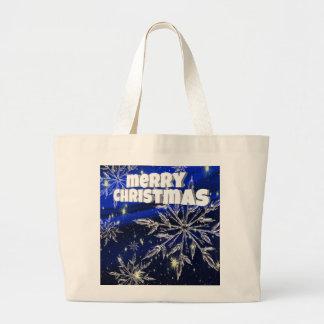 Blau der frohen Weihnachten Jumbo Stoffbeutel