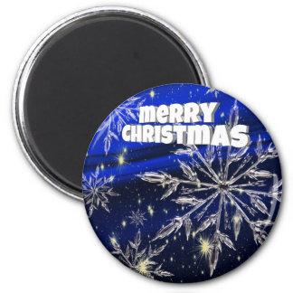 Blau der frohen Weihnachten Runder Magnet 5,7 Cm