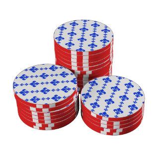 Blau der Lilien-3 Poker Jetons