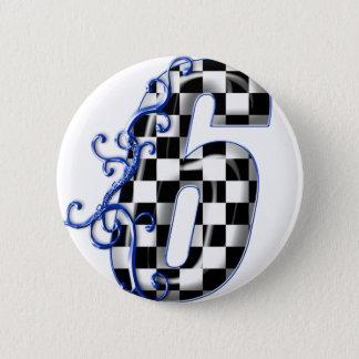 Blau der Nr. 6 Runder Button 5,7 Cm