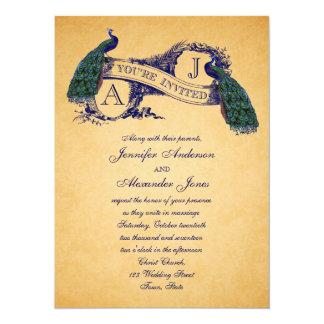Blau der Pfau-Vintages Hochzeits-Einladungs-  14 X 19,5 Cm Einladungskarte