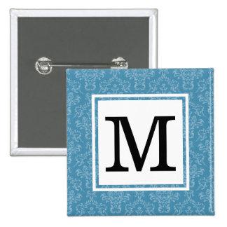 Blau des Damast-  Quadratischer Button 5,1 Cm